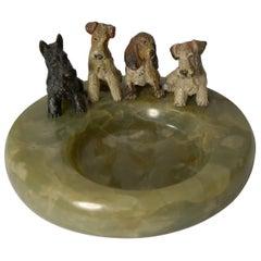 "Charming Cold Painted Bronze Dog ""Vide Poche"" / Desk Tidy, circa 1910"