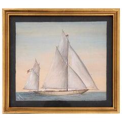 Charming Danish Ship Painting, Signed 1906