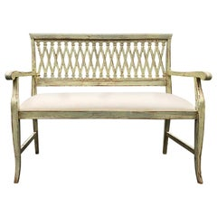 Charming Distressed Painted Bench with Lattice Style Back