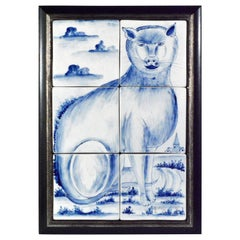 Charming Dutch Tin-Glazed Earthenware Tile Picture of a Cat