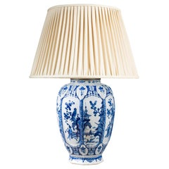 Charming Early 19th Century Delft Cobalt Blue and White Vase as a Table Lamp