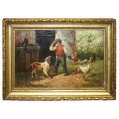 Charming Early 19th Century Oil on Canvas