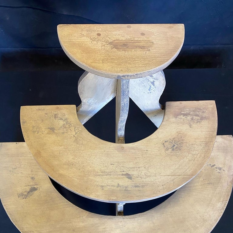 Charming Early American Three Tiered Plant Stand with Original Paint For Sale 1