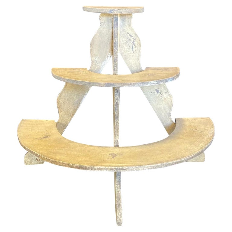 Charming Early American Three Tiered Plant Stand with Original Paint For Sale