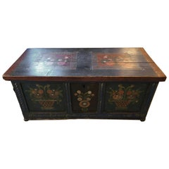 Charming Early Hand Painted Swedish Trunk Chest or Coffee Table