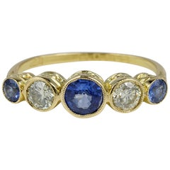 Charming Edwardian Natural Sapphire Diamond Five-Stone Ring