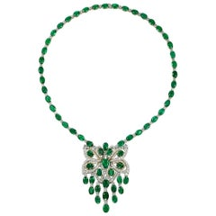 Takat Charming Emerald And Diamond Necklace In 18K Yellow / White Gold