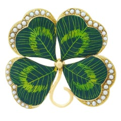 Charming Enameled Gold Clover Brooch