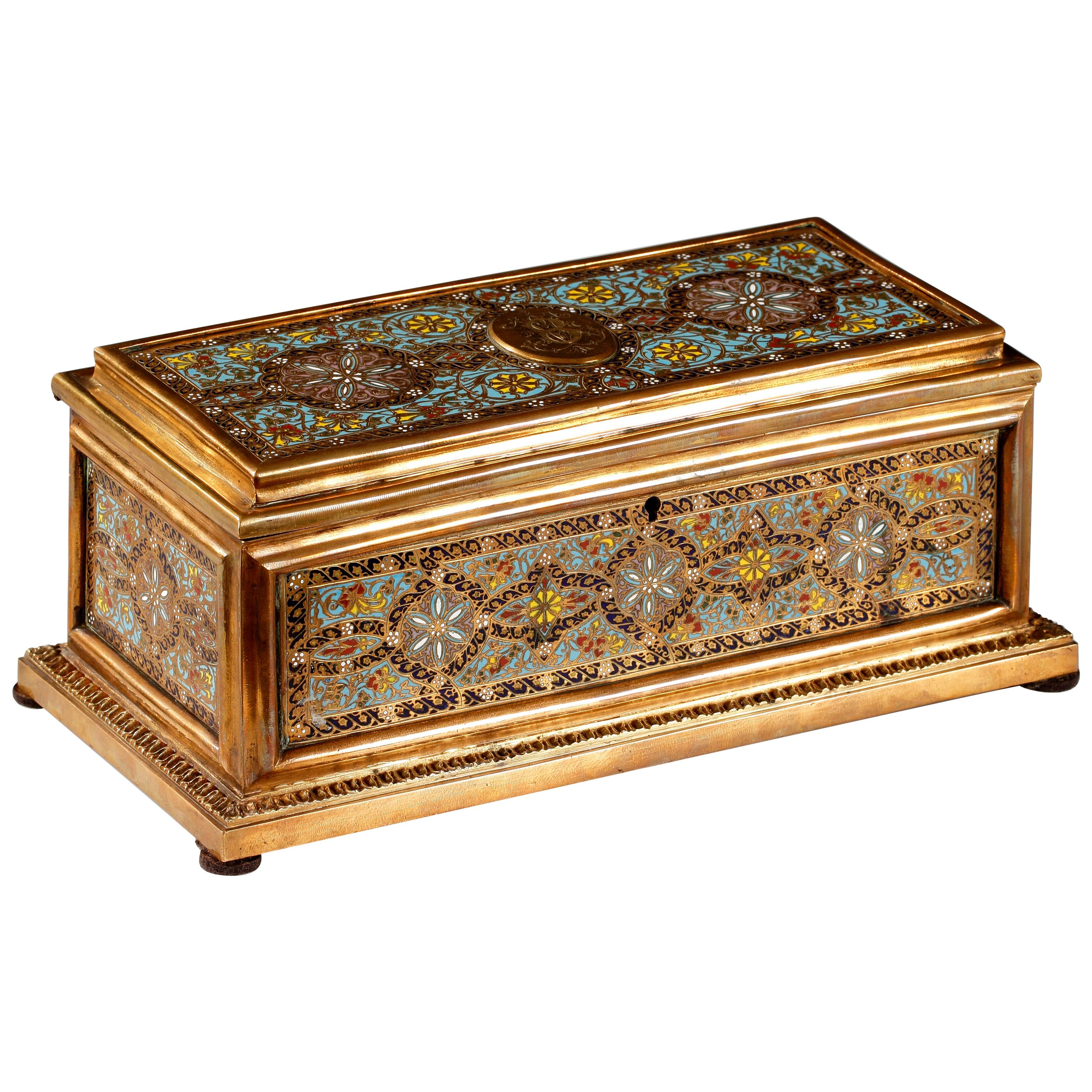 Charming Enamelled and Gilded Bronze Casket by Tahan