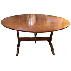 Charming Federal Style Cherry Trestle Base Oval Gate Leg Dining Table