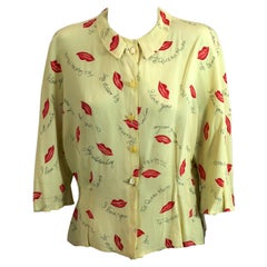 Charming Figural Lips And Love Sayings Printed Blouse