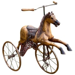 Charming Folk Art Child's Bicycle in the Shape of a Horse