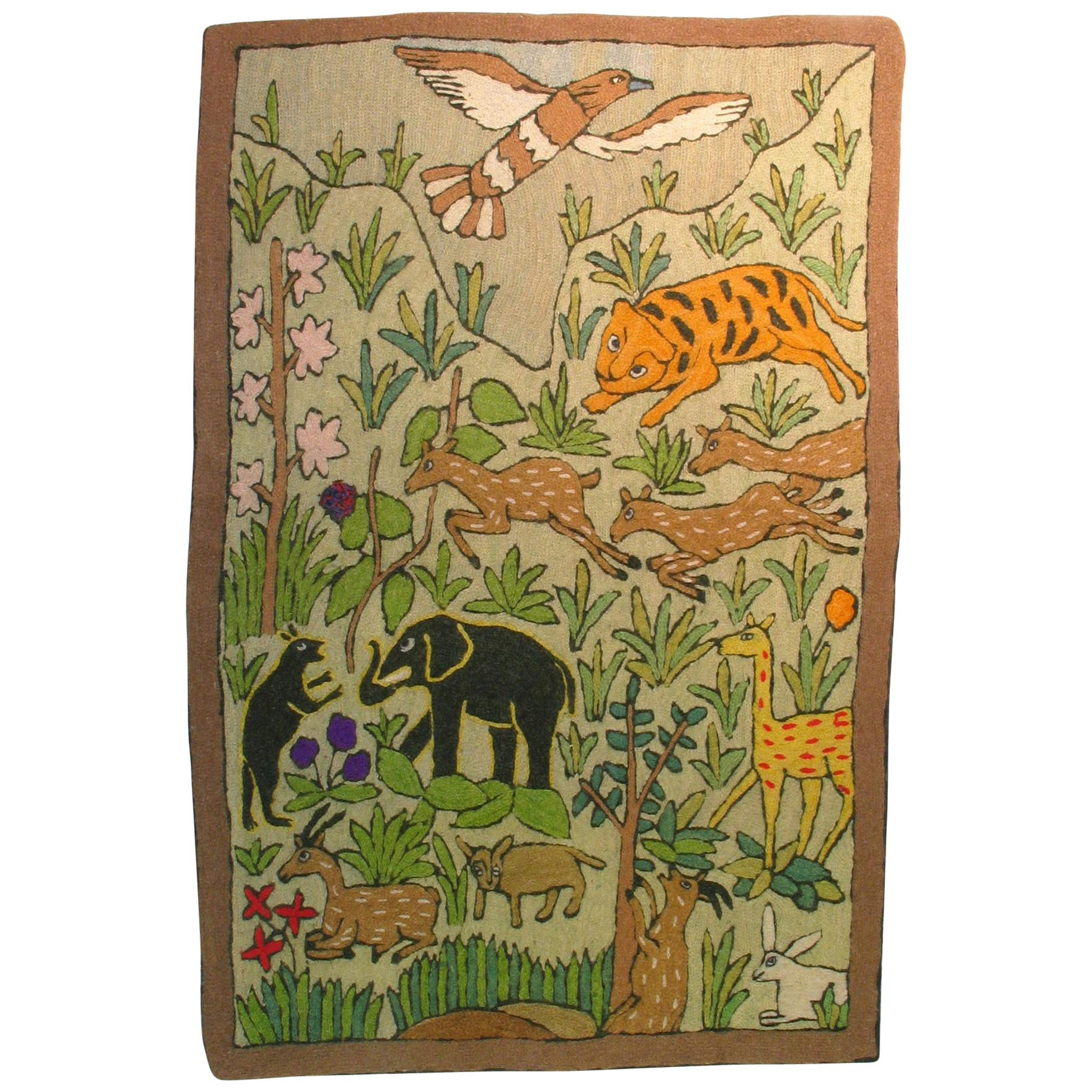 """Charming Folk Art """"exotic animals"""" Chain Stitch Embroidery Wall Tapestry"""