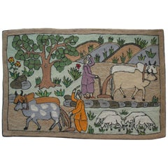 "Charming Folk Art ""farm scene"" Chain Stitch Embroidery Wall Tapestry"