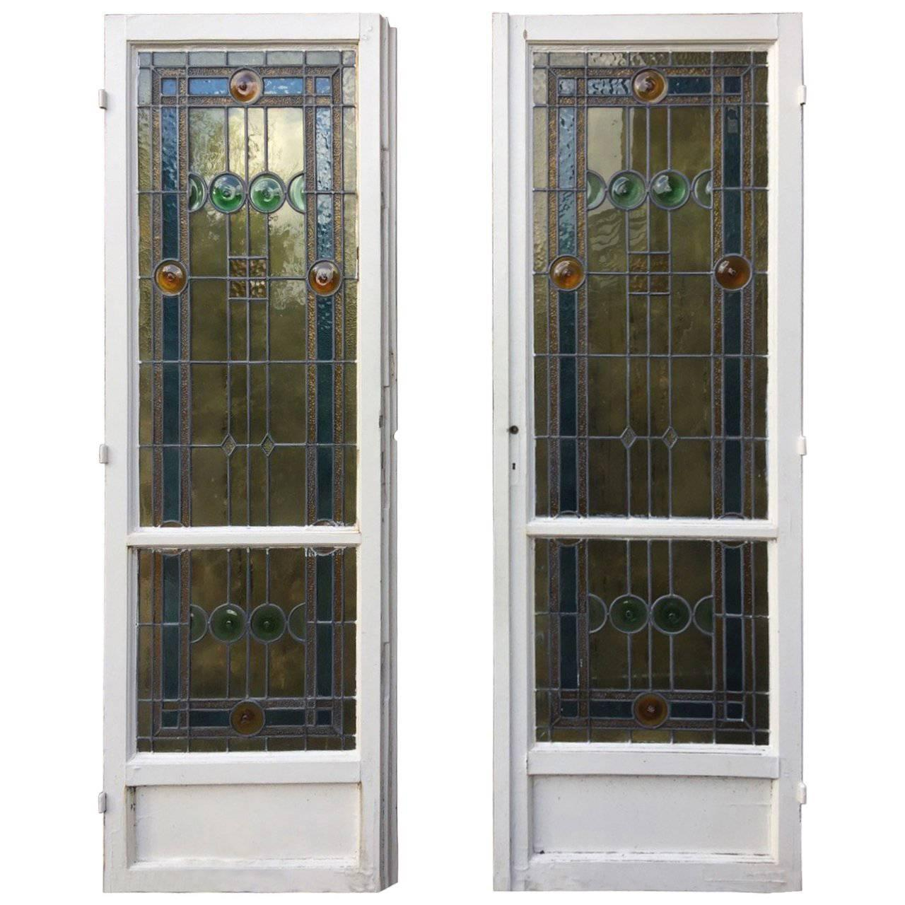 Charming French Art Deco Stained Glass Doors and Windows Set For Sale  sc 1 st  1stDibs & Charming French Art Deco Stained Glass Doors and Windows Set For ...