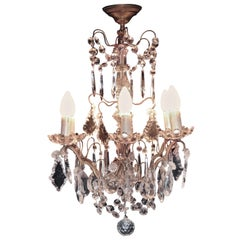 Charming French Cut Glass 6 Branch Brass Chandelier