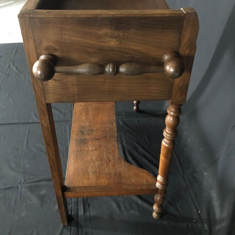French Provincial Charming French Oak Washstand Side Table with Bronze Pulls from Normandy For Sale