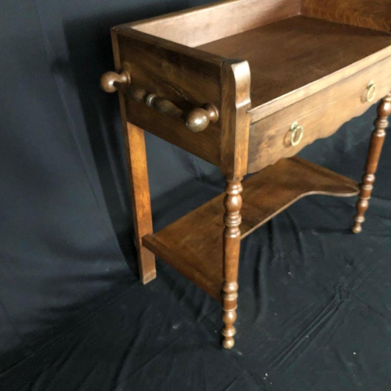 19th Century Charming French Oak Washstand Side Table with Bronze Pulls from Normandy For Sale