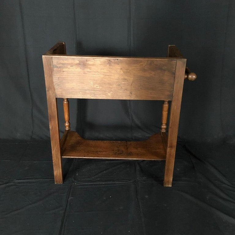 Charming French Oak Washstand Side Table with Bronze Pulls from Normandy For Sale 4