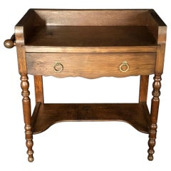 Charming French Oak Washstand Side Table with Bronze Pulls from Normandy