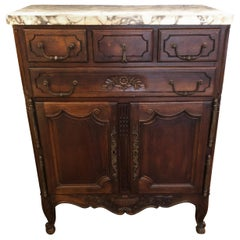 Charming French Provincial Marble-Top Carved Walnut Cabinet
