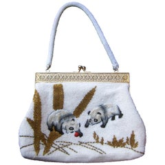 Charming Glass Hand Beaded Embroidered Panda Evening Purse c 1960s