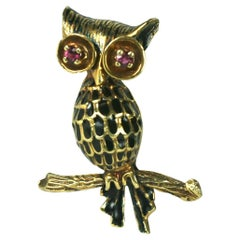 Charming Gold and Enamel Owl