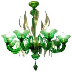 Charming Green Murano Glass Chandelier, Venice, 1990