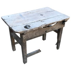 Charming Hacienda Vintage Work Table in Rustic Edge Mexican Mesquite Wood, 1940s