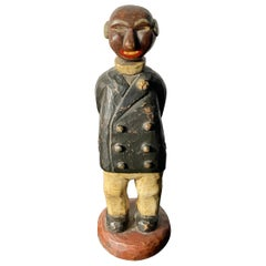 Charming Hand Carved and Painted  Folk Art Man Sculpture, by R.Holland