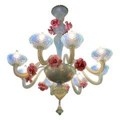 Charming Iridescent Murano Glass Chandelier, Venice, 1960