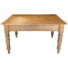 Charming Irish Scrubbed Pine Antique Dining Table or Desk