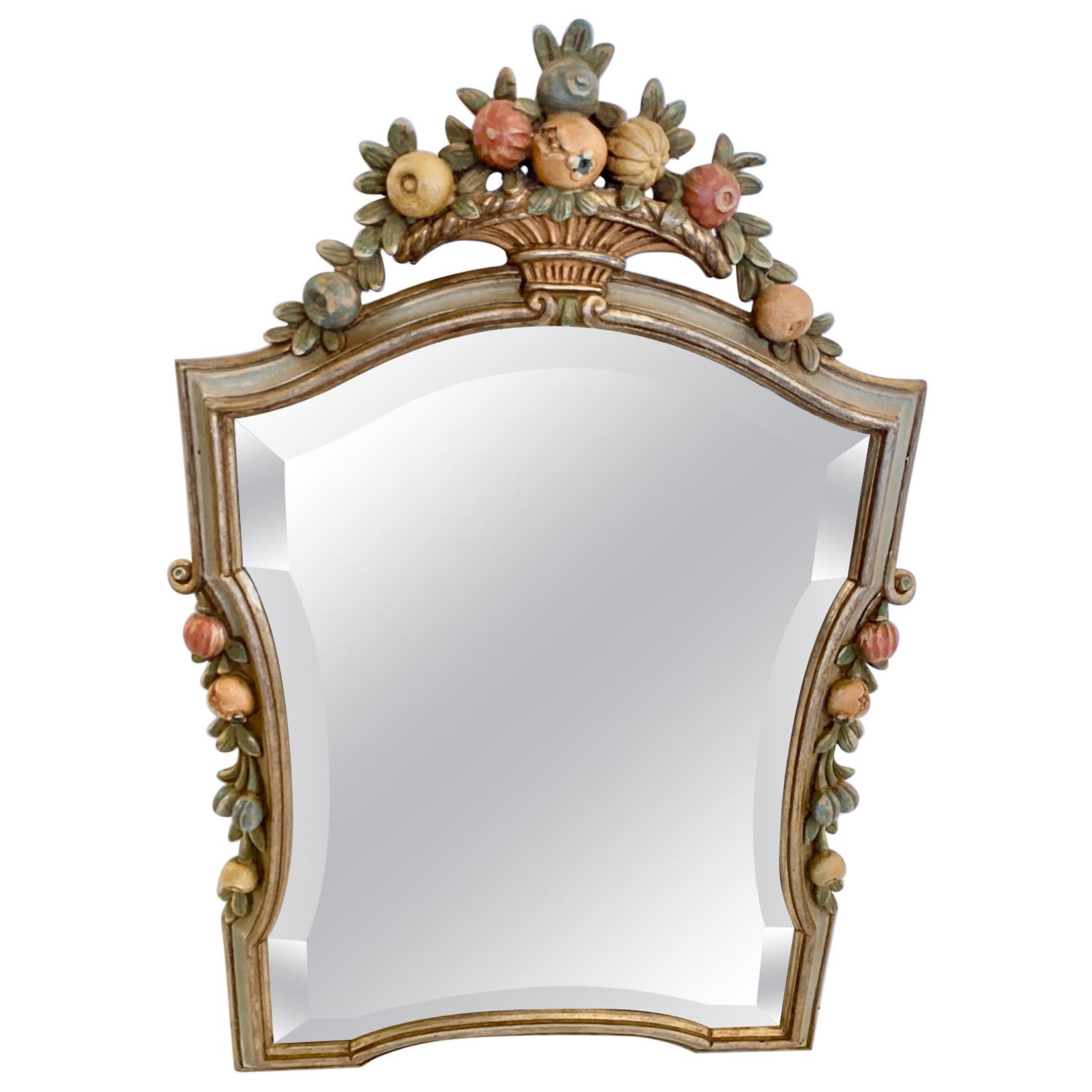 Charming Italian Carved Wood and Painted Mirror