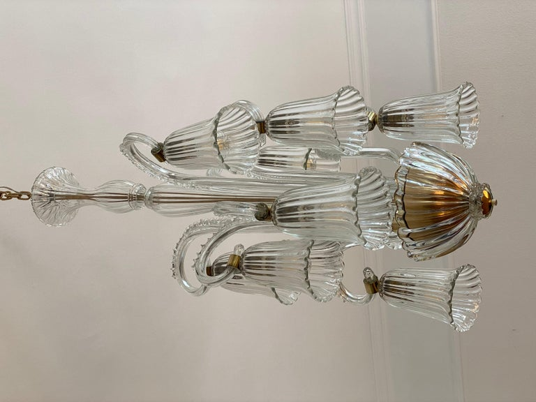 Charming Italian Chandelier by Ercole Barovier, Murano, 1940s For Sale 12