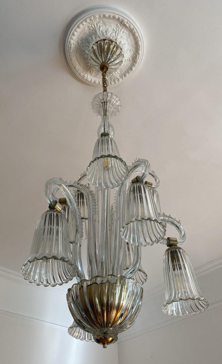 Extraordinary chandelier mid-20th century Art Deco by Ercole Barovier, Murano, 1940. Nine lights.