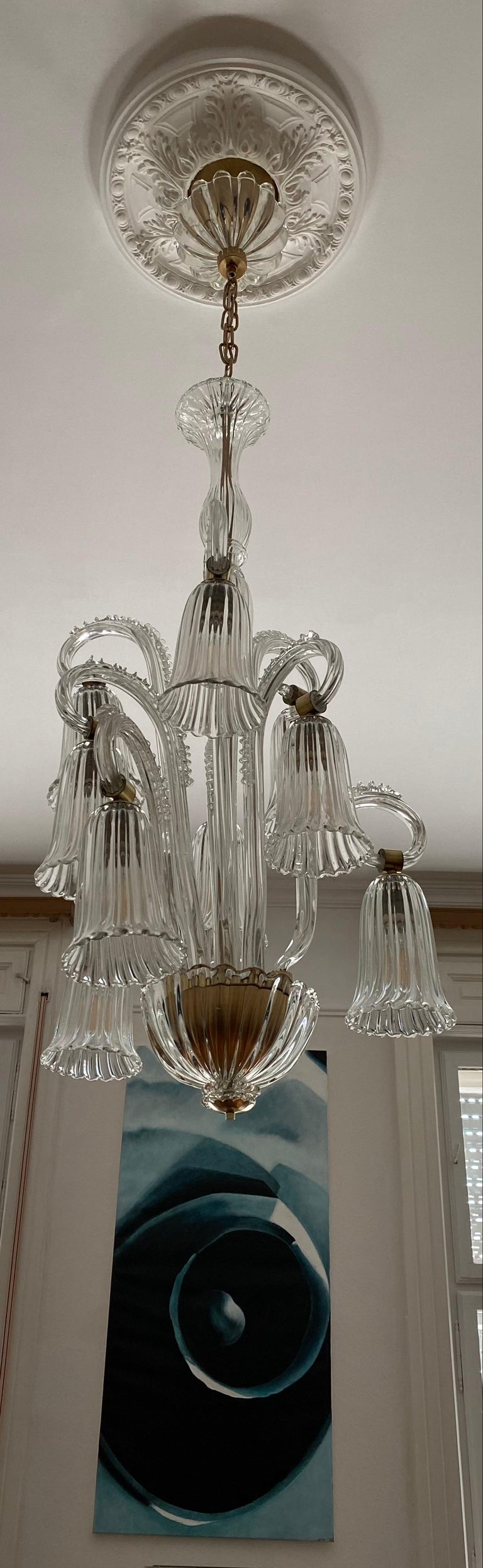 20th Century Charming Italian Chandelier by Ercole Barovier, Murano, 1940s For Sale
