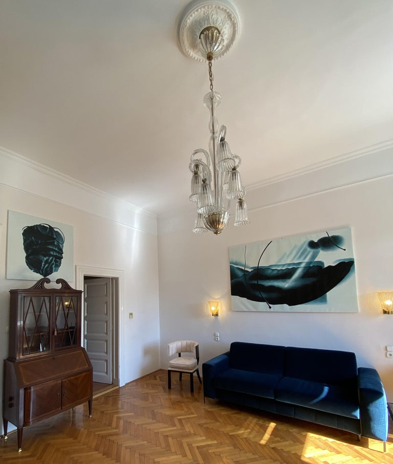 Charming Italian Chandelier by Ercole Barovier, Murano, 1940s For Sale 1