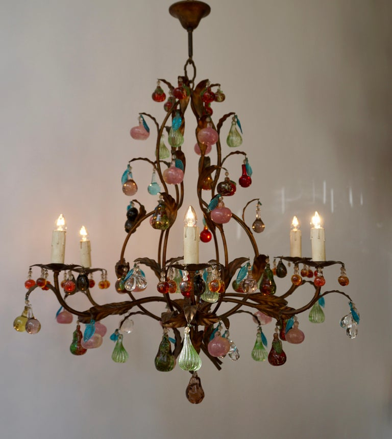Charming Italian Murano Chandelier with Fruit Pendants in Colored Glass For Sale 3