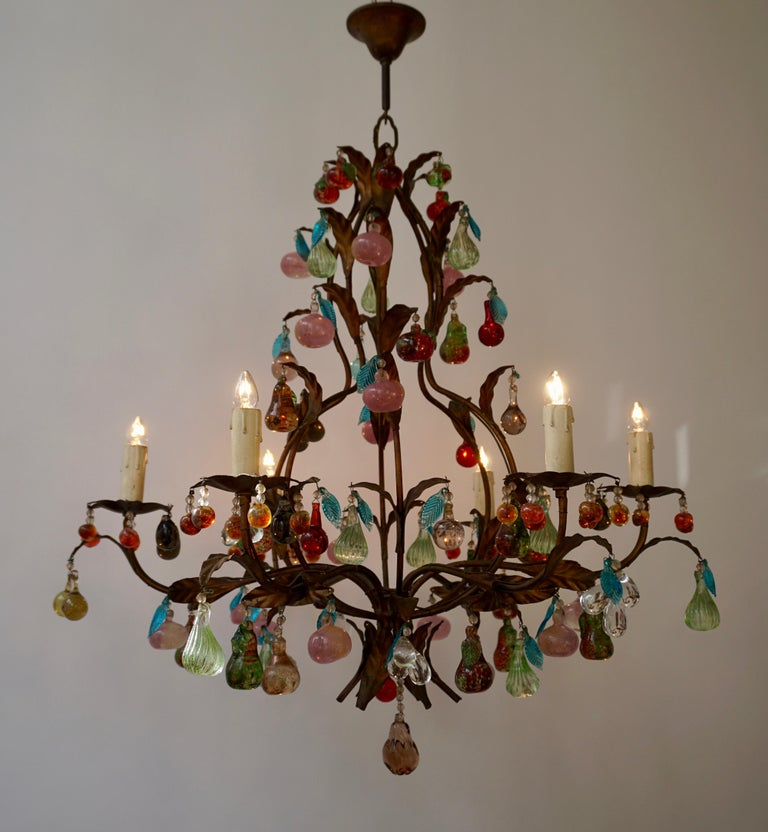 Molded Charming Italian Murano Chandelier with Fruit Pendants in Colored Glass For Sale