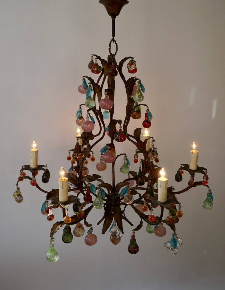 20th Century Charming Italian Murano Chandelier with Fruit Pendants in Colored Glass For Sale