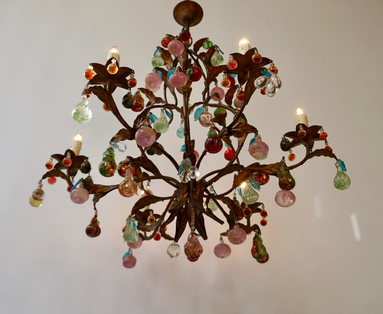 Brass Charming Italian Murano Chandelier with Fruit Pendants in Colored Glass For Sale