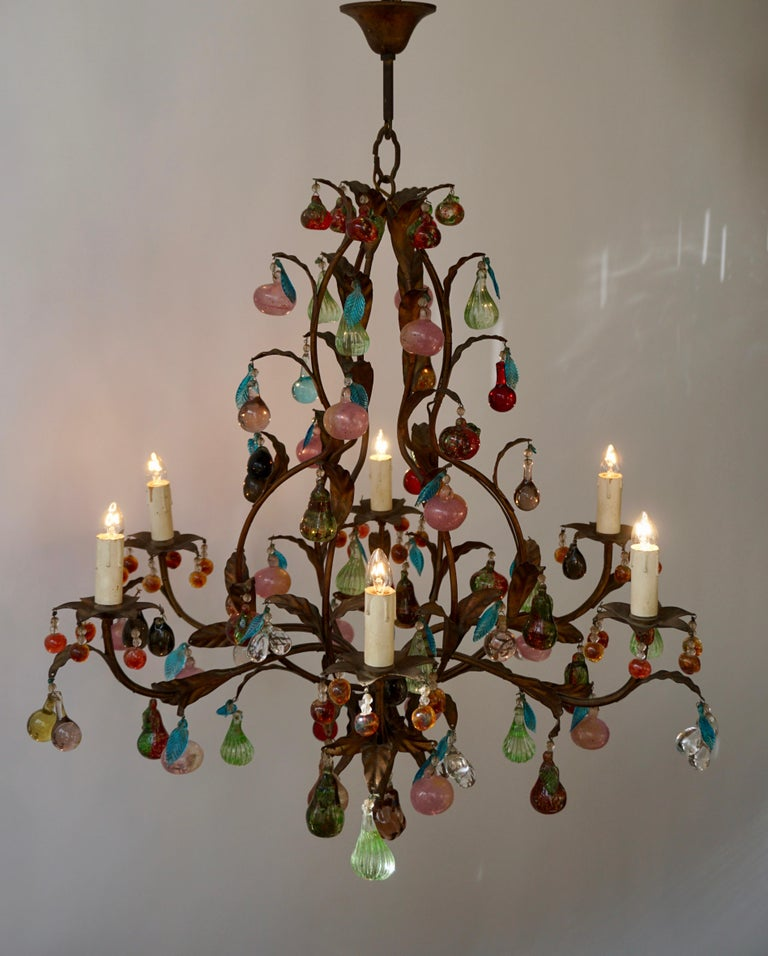 Charming Italian Murano Chandelier with Fruit Pendants in Colored Glass For Sale 2