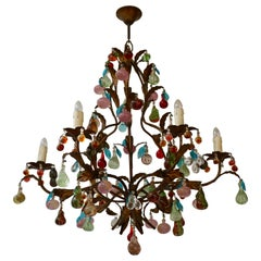 Charming Italian Murano Chandelier with Fruit Pendants in Colored Glass