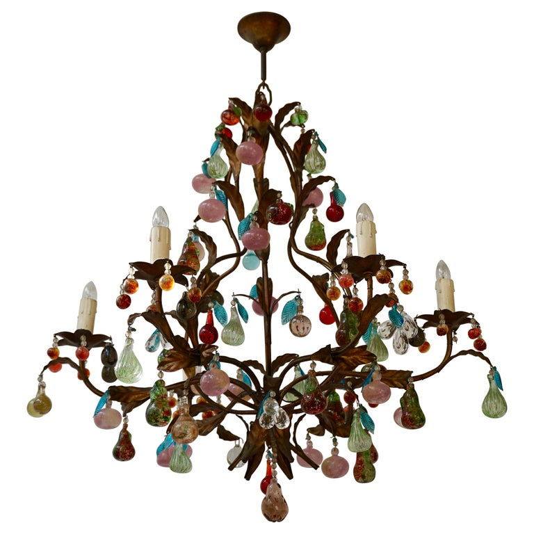 Charming Italian Murano Chandelier with Fruit Pendants in Colored Glass For Sale