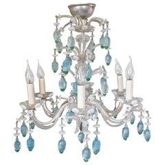 Charming Italian Silvered Opaline Chandelier