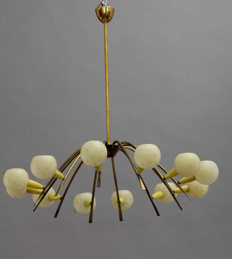Mid-20th Century Charming Italian Sputnik Chandelier Attributed Stilnovo, Italy, 1950 For Sale
