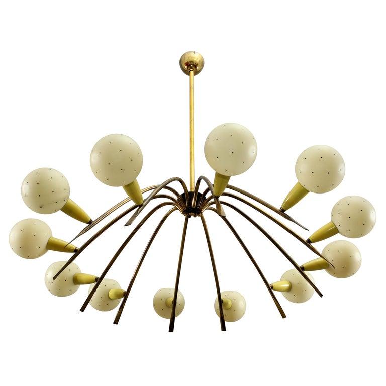 Charming Italian Sputnik Chandelier Attributed Stilnovo, Italy, 1950 For Sale