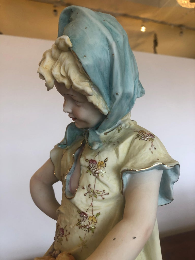 Charming Large Antique Hand Painted Parian Porcelain Figure of a Girl For Sale 5