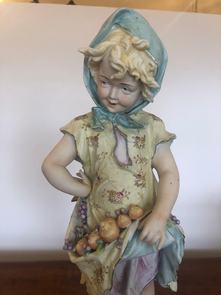 Mid-20th Century Charming Large Antique Hand Painted Parian Porcelain Figure of a Girl For Sale