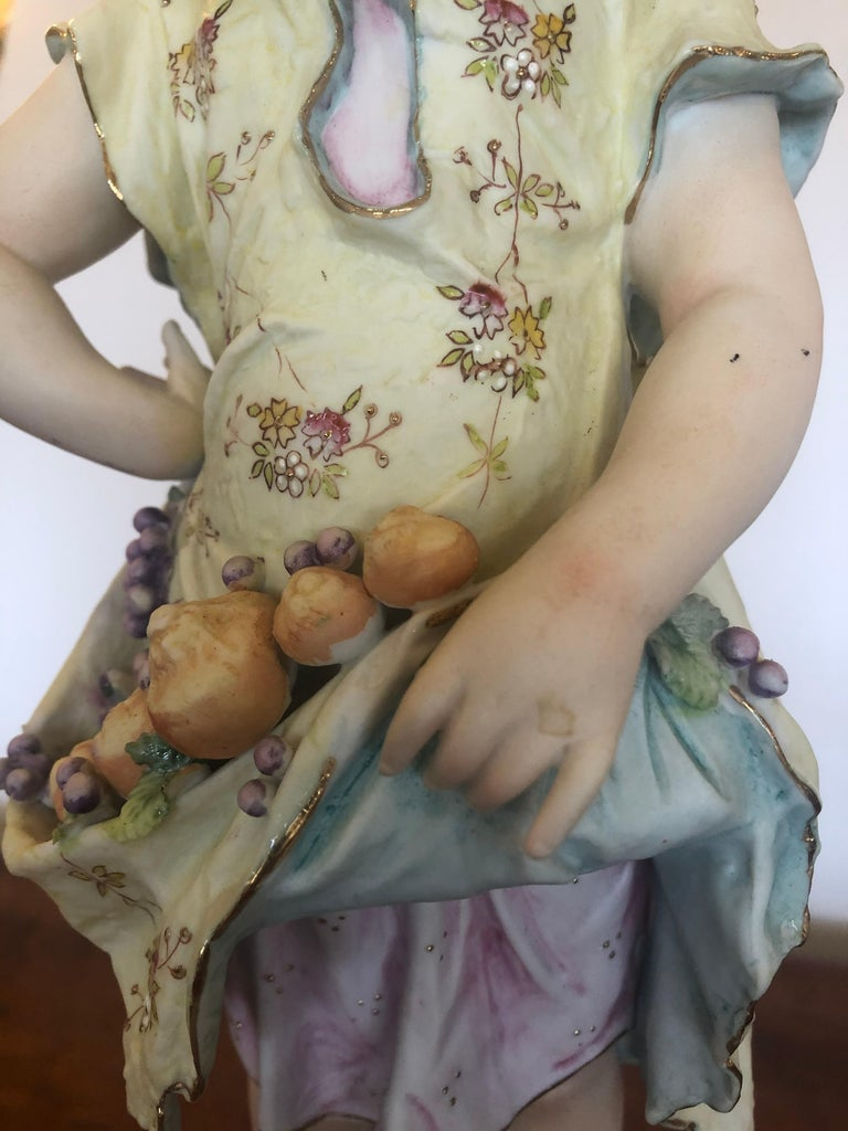Charming Large Antique Hand Painted Parian Porcelain Figure of a Girl For Sale 1